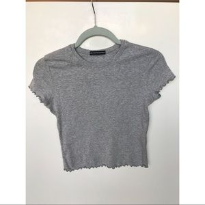 Brandy Melville Gray Ruffled Sleeves Shirt OS